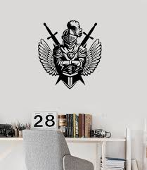 Vinyl Wall Decal Knight Wings Swords Medieval Style Teen Room Decorati Wallstickers4you