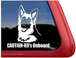 Amazon Com Caution K9 S Onboard German Shepherd Dog Vinyl Window Decal Sticker Automotive