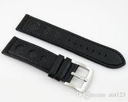 23mm black leather strap with steel