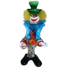 murano art glass standing clown from