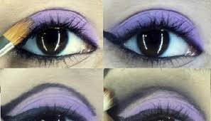 cut crease black purple makeup
