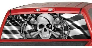 American Flag B W Skull Pirate Rear Window Graphic Decal Tint Etsy