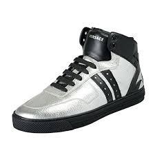 versace men s silver black leather hi