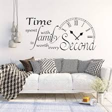 Inspirational Wall Sticker Quote Clock Time Spent With Family Is Worth Every Second Wall Decals Kitchen Living Room Decor Zx582 Wall Stickers Aliexpress