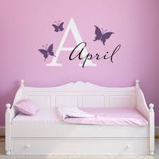 Butterflies With Personalized Girl Name Decal Butterfly Wall Etsy Butterfly Wall Decals Butterfly Decal Initials Wall Decal