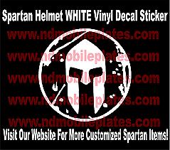 Spartan Helmet White Vinyl Decal Race Car Tattoo By Nd Mobile Plates Ebay