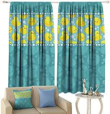 Amazon Com Kids Window Curtains Yellow Duck Decoration Design With Navy Blue Background Art Room Darkening Window Curtain 55 X 45 Home Kitchen