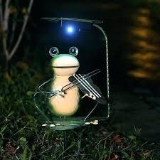 solar frog statue glass ball garden art