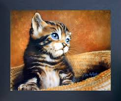 Cute Cat With Blue Eyes Kids Room Animal Wall Decor Espresso Framed Art Print Picture 20x24 Impact Posters Gallery
