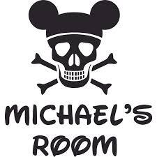 Mickey Pirate Skull Disney Cartoon Customized Wall Decal Custom Vinyl Wall Art Personalized Name Baby Girls