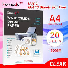 Hot Deal 391e5b A4 Transfer Paper Inkjet Water Slide Decal Paper Clear Transparent Printing Paper 190gsm 20sheets Clear Waterslide Decal Paper Cicig Co
