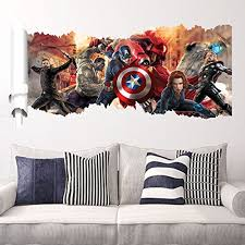 Wall Decals For Kids Rooms Boys Skateboard Dc Comics Marvel The Avengers Wall Sticker Team Hulk Decal Decoration Wallpaper Baby B01aw31xfa