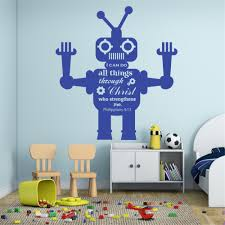Wall Decal Vinyl Quote Sicker I Can Do All Things Through Christ Who Strenghtens Me Robot For Kids Room Decoration Mural Ww 230 Wall Decals Vinyl Wall Decalsfor Kids Aliexpress
