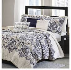 mesa navy and white damask quilt set
