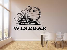 Vinyl Wall Decal Kitchen Restauran Wine Bar Barrel Grapes Stickers Mur Wallstickers4you