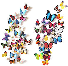 Amazon Com Eoorau 80pcs Butterfly Wall Decals 3d Butterflies Decor For Wall Removable Mural Stickers Home Decoration Kids Room Bedroom Decor Kitchen Dining