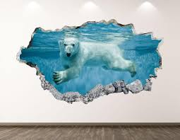 Polar Bear Wall Decal Underwater Animal 3d Smashed Wall Art Etsy