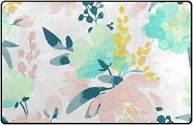 Amazon Com Alaza Watercolor Flowers Kids Carpet Playmat Rug 31x20 Inches For Living Room Bedroom Kids Room Furniture Decor