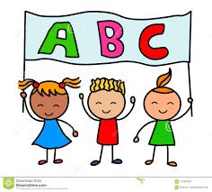 Alphabet Kids Cartoon Kids Holding Alphabet Banner Stock Vector Illustration Of Holding Character 115457970