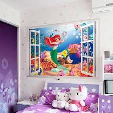 Super Cute Cartoon Mermaid Lovely Princess Ariel 3d Window Wall Sticker Kids Room Decals Wall Stickers Aliexpress