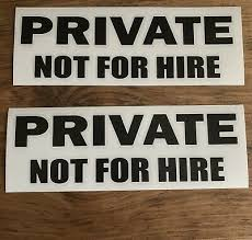 Private Not For Hire Vinyl Decal 2 Pack Black 3 99 Picclick