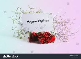 quotes word your happiness red flower stock photo edit now