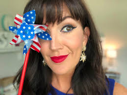red white and blue 4th of july makeup