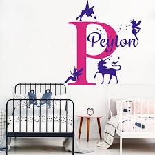 Custom Name Fairy Unicorn Star Wall Decal Girl Room Kids Room Cartoon Personalized Name Fairy Horse Animal Nature Wall Sticker Wall Stickers Aliexpress