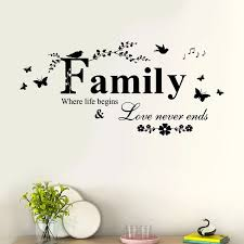 Family Love Never End Quote Vinyl 3d Wall Decal Wall Art Words Wall Sticker Home Decor Wedding Decor Living Room 2019 Fashion Wall Stickers Aliexpress