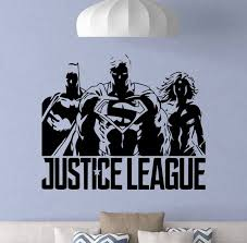 Justice League Wall Decal Superman Batman Wonder Woman Etsy