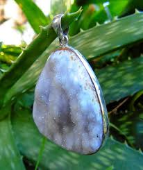 sterling silver agate crystal pendant