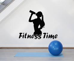 Vinyl Wall Decal Girl Fitness Time Motivation Health Sports Gym Sticke Wallstickers4you