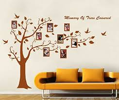 Amazon Com Huge Family Photo Frame Tree Vinyl Wall Decal Right Facing For Living Room Brown 5 57ft Tall Home Kitchen