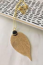 24k gold plated leaf pendant necklace