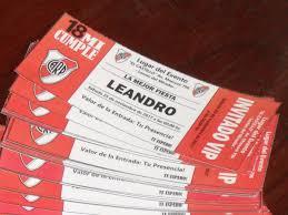 Tarjetas Entradas Futbol Invitaciones Cumpleanos River Plate