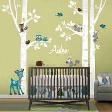 Large Birch Trees Animals Owl Squirrel Deer Forest Vinyl Nursery Wall Decals Personalized Art Stickers For Kids Rooms Home Decor Sticker For Kids Room Wall Stickers For Kidswall Sticker Aliexpress