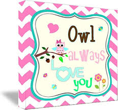 Amazon Com Framed Canvas Print Owl Always Love You 16 X16 Cute Nursery Kids Wall Art Plaque Home Decor Sayings Posters Prints