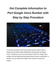 PORT GOOGLE VOICE NUMBER by Maria2516 ...