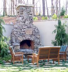 outdoor patio stone fireplace outside