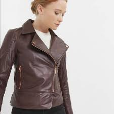 womens brown leather moto