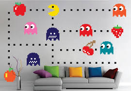 Pac Man Wall Decal Atari Bedroom Design Game Room Pac Man Wall Mural American Wall Designs