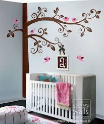 Huge Swirly Tree With Birds Wall Decal Corner Tree Kids Wall Decals Styleywalls On Artfire