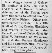 Duncan and Effie (Firestone) Henderson attend the funeral of Effie Fisher.  - Newspapers.com
