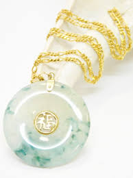 chinese jade disc pendant necklace 6 8g
