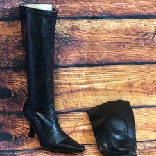 black leather boots with kitten heel