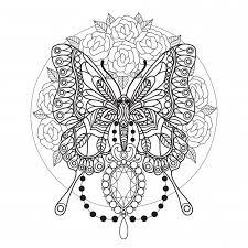 Vlinder En Diamanten Kleurplaat Voor Volwassenen Premium Vector