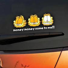 Aliauto Cartoon Garfield Car Sticker Money Come To Me Decal For Motorcycle Volkswagen Polo Golf Chevrolet Toyota Renault Laptop Car Stickers Aliexpress