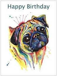 pug birthday card dog birthday gift for