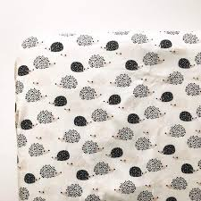 hedgehog crib sheet black and white