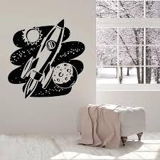 Rocket Space Wall Decal Cosmic Astronaut Vinyl Door Window Stickers Kids Boys Bedroom Nursery Interior Decor Art Wallpaper E564 Wall Stickers Aliexpress
